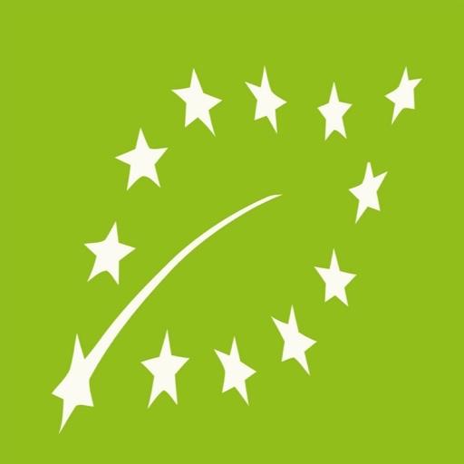 Logotipo de Agricultura Ecologica: 12 estrellas blancas de la Union Europea que forman la silueta de una hoja sobre un fondo verde