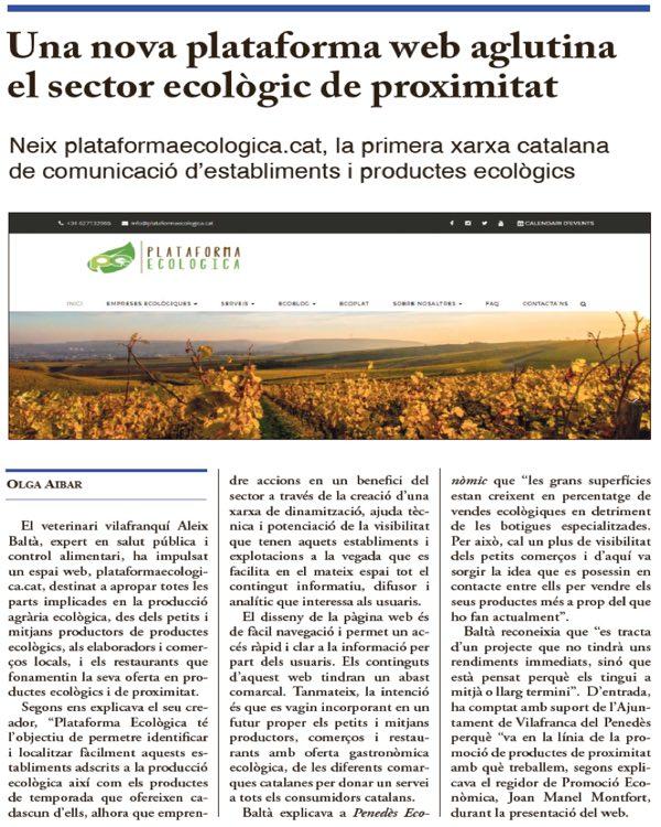 Plataforma Ecologica - prensa - Penedès Econòmic